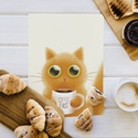 Kávés cica fali kép - Cicás fali kép - Macska kép - cica print - macska print - Digitális festmény, Naptár, képeslap, album, Dekoráció, Otthon, lakberendezés, Falikép, Kávés cica fali kép - Cicás fali kép - Macska kép - cica print - macska print - Digitális festmény  ..., Meska