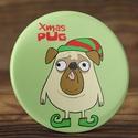 Karácsonyi kitűző - mopsz kitűző - mopszos kitűző - kutyás kitűző - karácsony mopsz kitűző - xmax pug kitűző - kutya , Ruha, divat, cipő, Mindenmás, Ékszer, Bross, kitűző, Karácsonyi kitűző - mopsz kitűző - mopszos kitűző - kutyás kitűző - karácsony mopsz kitűző - xmax pu..., Meska
