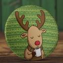 Karácsonyi tükör - Kávézó szarvas zsebtükör - őz tükör - karácsony tükör  - őzike tükör - karácsony ajándék - kávé, Ékszer, Dekoráció, Mindenmás, Karácsonyi tükör - Kávézó szarvas zsebtükör - őz tükör - karácsony zsebtükör  - őzike tükör - karács..., Meska