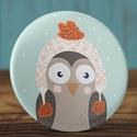 Karácsonyi tükör - Sapkás bagoly zsebtükör - karácsony zsebtükör  - bagoly tükör - karácsony ajándék - tél, Ékszer, Dekoráció, Mindenmás, Karácsonyi tükör - Sapkás bagoly zsebtükör - karácsony zsebtükör  - bagoly tükör - karácsony ajándék..., Meska