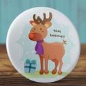 Karácsonyi tükör - boldog karácsony tükör - szarvas tükör - állat zsebtükör - őz tükör - ajándék - sál - rudolf, Karácsonyi tükör - boldog karácsony tükör - ...