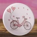 Rózsaszín bicikli kitűző -  bicikli bross - vintage kitűző - szivecske kitűző - vintage ajándék - szív - kerékpár , Ruha, divat, cipő, Mindenmás, Ékszer, Bross, kitűző, Rózsaszín bicikli kitűző -  bicikli bross - vintage kitűző - szivecske kitűző - vintage ajándék - sz..., Meska