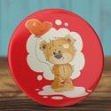 Szeretlek maci kitűző - medve bross- valentin nap - szerelmes ajándék - szeretlek kitűző - maci - szív - piros - lufi, Ruha, divat, cipő, Ékszer, Szerelmeseknek, Bross, kitűző, Szeretlek maci kitűző - medve bross- valentin nap - szerelmes ajándék - szeretlek kitűző - maci - sz..., Meska