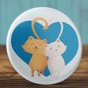 Valentin napi cica mágnes - macska hűtőmágnes - szeretlek - szerelmes ajándék - szerelmes pár - cica - rózsaszín, Dekoráció, Mindenmás, Valentin napra, Otthon, lakberendezés, Valentin napi cica mágnes - macska hűtőmágnes - szeretlek - szerelmes ajándék - szerelmes pár - cica..., Meska