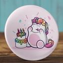 Boldog szülinapot unikornis kitűző - unicorn bross - happy birthday - ajándék - szülinap tükör - születésnap, Ruha, divat, cipő, Ékszer, Bross, kitűző, Gyereknap, Boldog szülinapot unikornis kitűző - unicorn bross - happy birthday - ajándék - szülinap tükör - szü..., Meska
