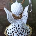 Horgolt angyalka fehér-arany, Ezt az anyalkát fehér és arany színű horgoló...
