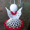 Horgolt piros-arany angyalka, Piros , arany és fehér horgolócérnából kész...