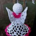 Pinki -horgolt angyalka, Pink, fehér és arany horgolócérnából készí...