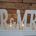 """""""Mr és Mrs"""" mécsestartó, Dekoráció, Esküvő, Otthon, lakberendezés, Esküvői dekoráció, Mr & Mrs felíratú mécsestartó. mérete 35x15 cm színe : elefántcsont 4 db mécses meggyújtás..., Meska"""