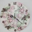 Vintage Falióra, Dekoráció, Ékszer, Esküvő, Nászajándék, Rózsás falióra. mérete: 20x20cm, Meska