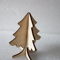 3D karácsonyfa , Dekoráció, Karácsonyi, adventi apróságok, Ünnepi dekoráció, Karácsonyi dekoráció, 3D karácsonyi dísz fából, tetszés szerint átfesthető vagy natúron hagyható. 15cm magas, de ..., Meska
