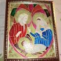 szentkép üvegfestéssel, Karácsonyi, adventi apróságok, Képzőművészet, Mindenmás, Vallási tárgyak, Szentkép nagyon szép üvegfestés technikával készült,karácsonyi dekorációnak,nagyon szép a..., Meska