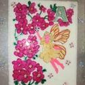 angyalka virággal gyerekszobába, Dekoráció, Baba-mama-gyerek, Kép, Gyerekszoba, Üvegművészet, Festészet, Üvegfestéssel készült 40x50-es festett kép angyalka virággal... Lepje meg gyermekét aranyos kis kép..., Meska