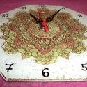 mandala óra, Ékszer, Dekoráció, Otthon, lakberendezés, Falióra, óra, Akrilfestékkel üvegre festett mandala óra ,22 cm-es,kipróbált, jól müködö,diszdobozban szá..., Meska