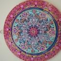 indiai dupla mandala , Dekoráció, Képzőművészet, Otthon, lakberendezés, Falikép, Üvegművészet, Festészet, 35 cm-es dupla mandala,nagyon gyönyörü ajándék esküvöre,névnapra,szülinapra... szerezzen boldogságo..., Meska