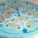 mandala tál, Dekoráció, Képzőművészet, Otthon, lakberendezés, Mindenmás, 25 cm-es kék mandala tál,nagyon lakás dekoráció,névnapra,szülinapra,ajándékba..., Meska