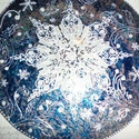 Hópelyhecskés mandala, Dekoráció, Képzőművészet, Otthon, lakberendezés, Kép, Festészet, Üvegművészet, Karácsonyi meglepetésnek ajánlom a hópelyhecskés mandalát...Lepje meg szeretteit ezzel a különleges..., Meska