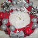 karácsonyi ajtódisz, Dekoráció, Ünnepi dekoráció, Karácsonyi, adventi apróságok, Karácsonyi dekoráció, 20 cm-es piros karácsonyi ajtó kopogtató lehet a lakás disze....., Meska