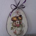 Húsvéti,tavaszi ajtódísz,húsvéti tojás ,dekoráció nagy , Dekoráció, Ünnepi dekoráció, Ajtódísz, kopogtató, Decoupage, transzfer és szalvétatechnika, húsvéti,tavaszi ajtódísz,fali dísz.Húsvéti dekoráció.  15.5x11.5cm  ajánlott levélként megy., Meska