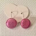 Rózsaszín-ezüst valódi bőr fülbevaló, Ékszer, óra, Fülbevaló, Valódi bőrből készített bőr fülbevaló. A fülbevaló francia kapcsos. Fülbevaló kör rész..., Meska