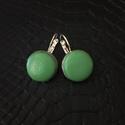 Zöld valódi bőr fülbevaló, Ékszer, Fülbevaló, Valódi bőrből készített bőr fülbevaló. A fülbevaló francia kapcsos. Fülbevaló kör rész..., Meska