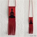 Piros Buddha gyöngy-bőr nyaklánc , Ékszer, Nyaklánc, Buddha gyöngy-bőr nyaklánc  Gyöngyből, valódi bőrből készült nyaklánc. A buddha rész mag..., Meska