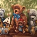 Macis falvédő, macis falikép tervezői anyagból, Baba-mama-gyerek, Gyerekszoba, Falvédő, takaró, Egyedi macis falikép, falvédő designer anyagból A mackó a gyermek legjobb barátja, régóta védelmezők..., Meska
