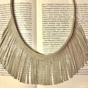 Arany-pezsgő hatású, mintás rojtos bőr nyaklánc , Ékszer, Nyaklánc, Valódi bőrből készített nyaklánc  Különleges mintázatú és hatású arany bőr nyaklánc. A nyakrész/rojt..., Meska