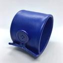 Kék valódi bőr karkötő, Ékszer, Karkötő, A karkötő valódi bőrből készült, saját tervezéssel, kivitelezéssel.  Mérete begombolva körbe 21 cm, ..., Meska