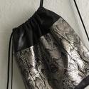 Valódi bőr hátizsák, ezüst-fekete, egyedi, Táska, Hátizsák, Valódi, minőségi olasz bőrből készített hátizsák A bőr két színű: fekete, mintás. Bél..., Meska