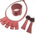 Antik rose Bőr ékszerszett, exkluzív, Ékszer, Ékszerszett, Extravagáns bőr karkötő, nyaklánc és fülbevaló valódi olasz bőrből, szőrmével készítv..., Meska