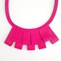 Pink valódi Bőr nyaklánc, Ékszer, Nyaklánc, Valamennyi termék saját ötlet, elgondolás, kivitelezés alapján készül.  A bőr nyakláncról: Méretek: ..., Meska