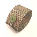 Csíkos zöld-kék- arany valódi bőr karkötő, Ékszer, Karkötő, A karkötő valódi olasz bőrből készült saját tervezéssel, kivitelezéssel.  Színe: arany sz..., Meska