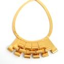 Arany valódi bőr nyaklánc, Ékszer, Nyaklánc, Valamennyi termék saját ötlet, elgondolás, kivitelezés alapján készül.  A bőr nyakláncról..., Meska