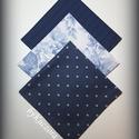 Textil zsebkendő szett, öko zsebkendő szett - kék , Ruha, divat, cipő, Szépségápolás, Egészségmegőrzés, Fürdőszobai kellék, Textil zsebkendő - öko zsebkendő - kék  Finom pamutvászonból készült zsebkendő szett, mely 3 darabbó..., Meska