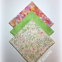 Textil zsebkendő szett, öko zsebkendő szett -  zöld, rózsaszín, Ruha, divat, cipő, Szépségápolás, Egészségmegőrzés, Textil zsebkendő - öko zsebkendő - zöld, rózsaszín  Finom pamutvászonból készült zsebkendő szett, me..., Meska