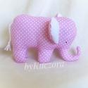 Elefánt - rózsaszín pöttyös, Játék, Dekoráció, Baba-mama-gyerek, Plüssállat, rongyjáték, Rózsaszín pöttyös anyagból készült textiljáték, textil elefánt.  Bájos kiegészítője lehet bármely sz..., Meska