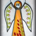 Narancs ŐrAngyal, bogyós-tulipános ruhában, SZEMÉLYRE SZÓLÓ ŐRANGYAL! Mert mindenkinek van...
