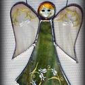 Zöld ŐrAngyal fehér tulipános ruhában, SZEMÉLYRE SZÓLÓ ŐRANGYAL! Mert mindenkinek van...