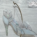 Hamupipőke Üvegcipő fehér, Tiffany technikával, üvegből készültek a Hamu...