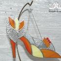 Hamupipőke Üvegcipő narancs, Tiffany technikával, üvegből készültek a Hamu...