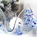 Ünnepi színekben - gyertyatartó, Üvegolvasztással, ünnepi színekben készült k...