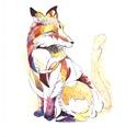 Róka, A/4-es akvarell festmény akvarell papíron