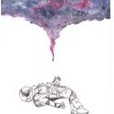 Asztronauta, A/4-es akvarell festmény akvarell papíron