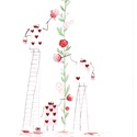 Alice csodaországban - rózsafestés, A/4-es méretű akvarell kép akvarell papíron. A...
