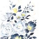 Kék-sárga virágok, Otthon & lakás, Dekoráció, Képzőművészet, Festmény, A/4-es méretű akvarell kép akvarell papíron. , Meska