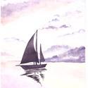 Magányos vitorlás, A/4-es méretű akvarell kép akvarell papíron