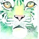 Zöld tigris, Dekoráció, Férfiaknak, Képzőművészet, Legénylakás, A/4-es méretű akvarell kép akvarell papíron. , Meska