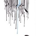 Elfolyó zebra, A/4-es méretű akvarell kép akvarell papíron.