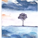 A magányos fa, Dekoráció, Képzőművészet, Otthon, lakberendezés, Kép, Festészet, A/4-es méretű akvarell festmény, Meska